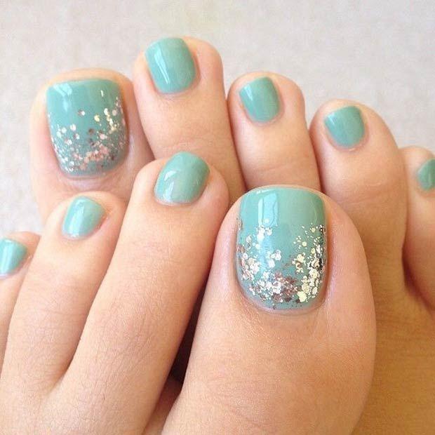 Turquoise Toe Nail Design