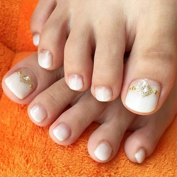 White Toe Nail Design