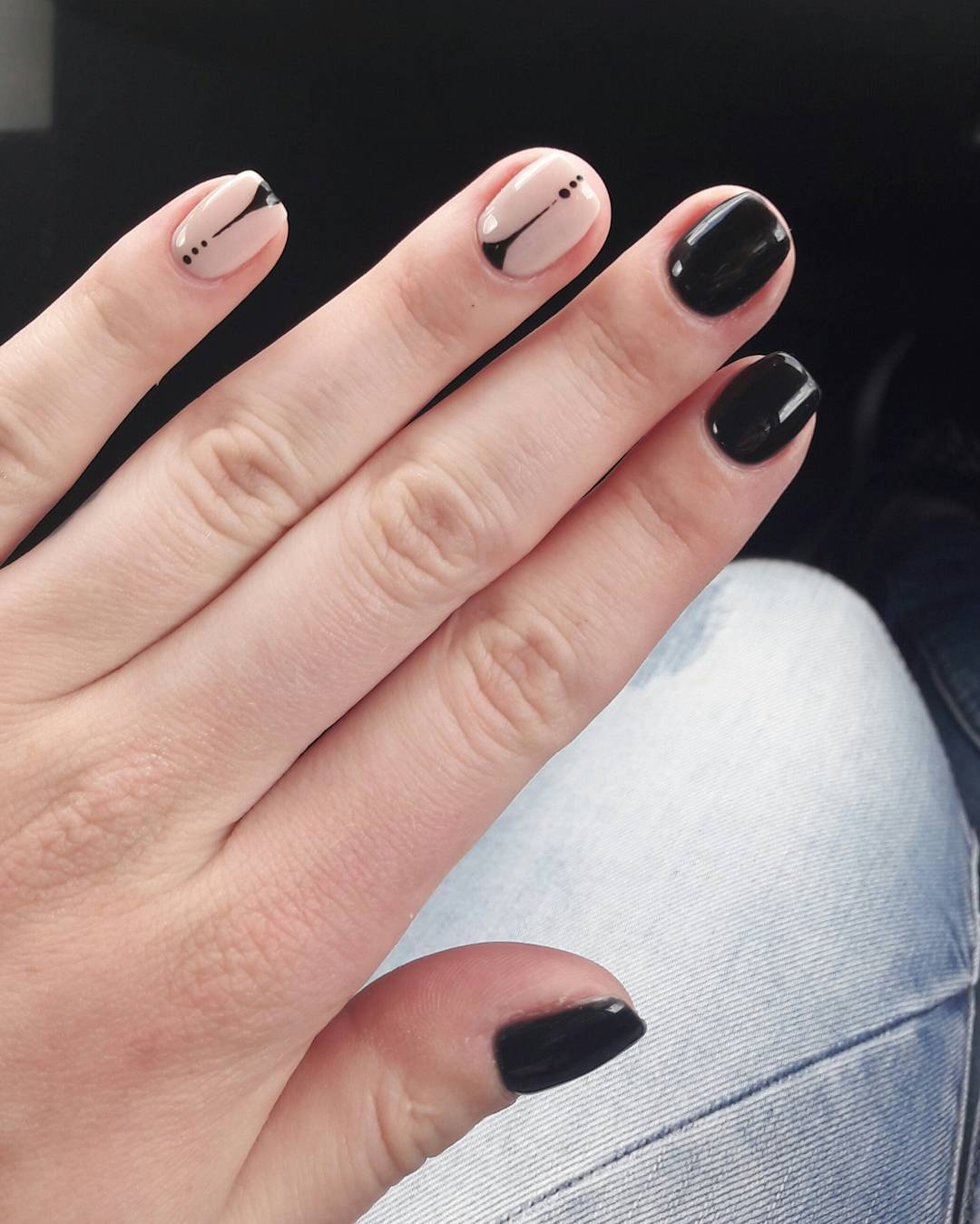 Black Squared Nails with Neutral Exceptional Nail