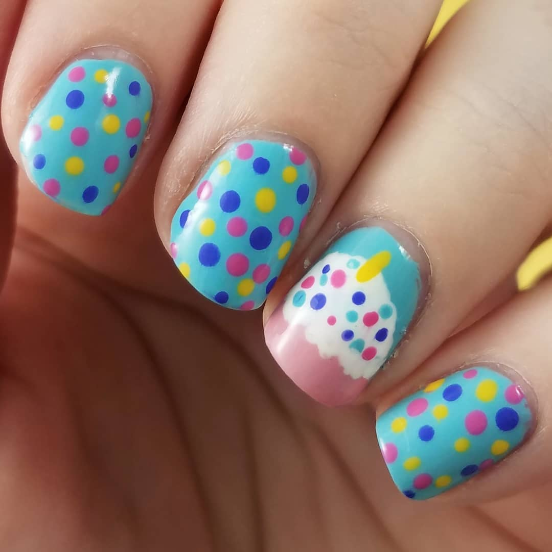 Cake and Sprinkles Design Nail Art for Blue Nails