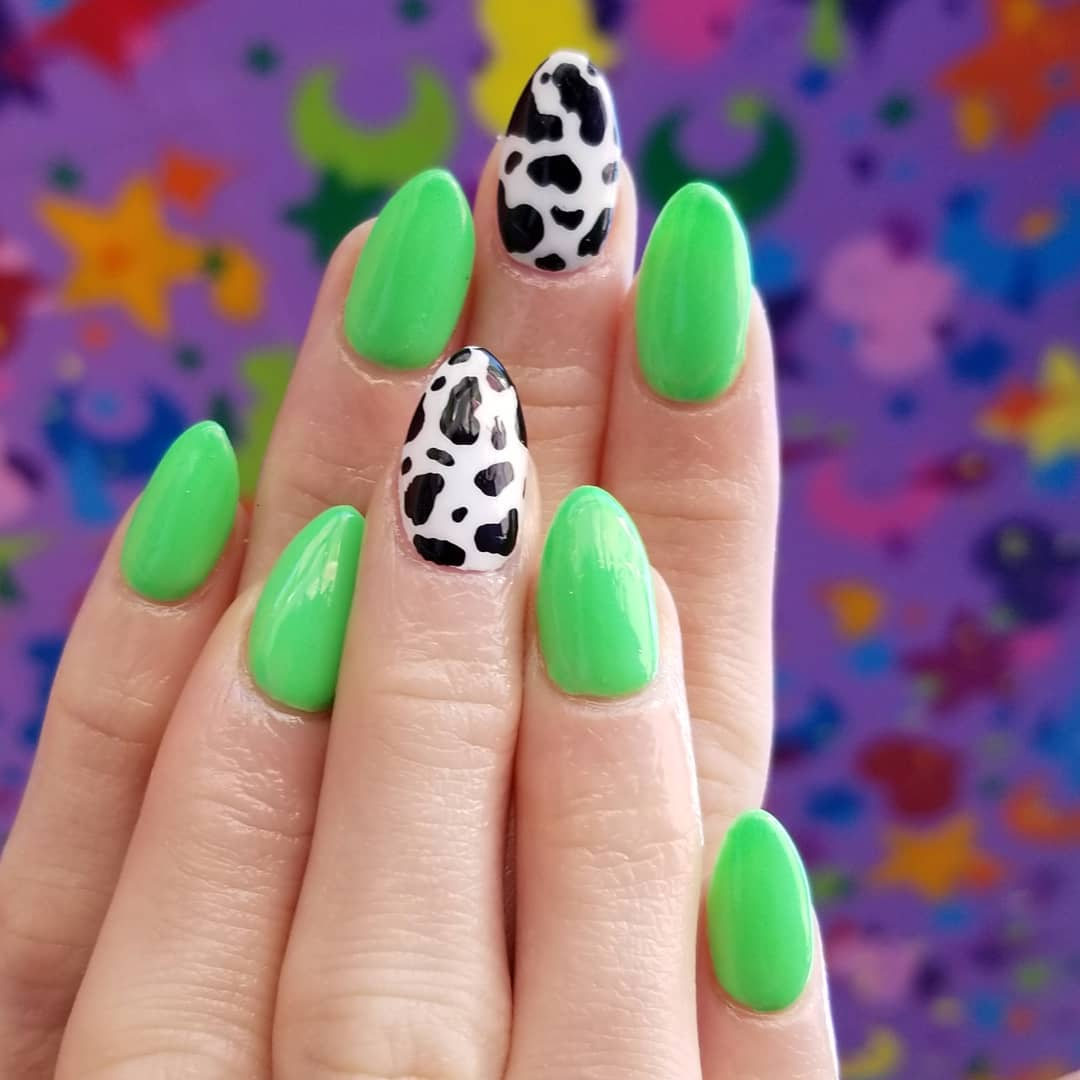 Cow Design Exceptional Nail Art for Squared Stiletto Nails