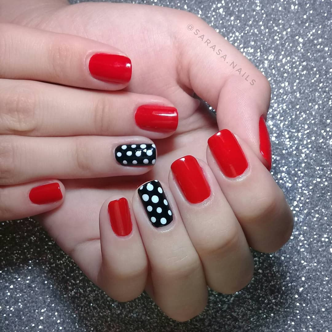 Cute Red Nails with White Polka Dotted Design Exceptional Black Nail