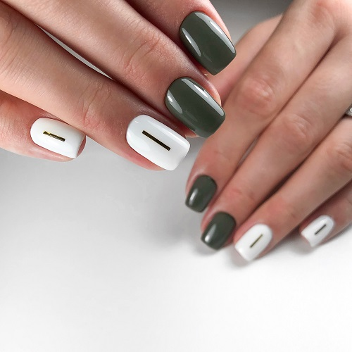 Dark Green and White Simple Nails for Party