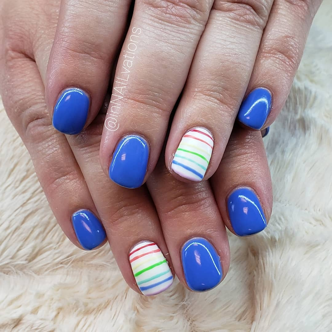 Decent Blue Nails with White Exceptional Colorful Nail Art