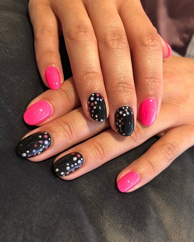 DIY Simple Polka Dotted Design Black and Pink Nails