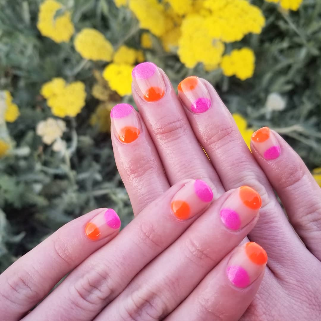 Easy DIY Pink and Orange Nail Art for Squared Nails