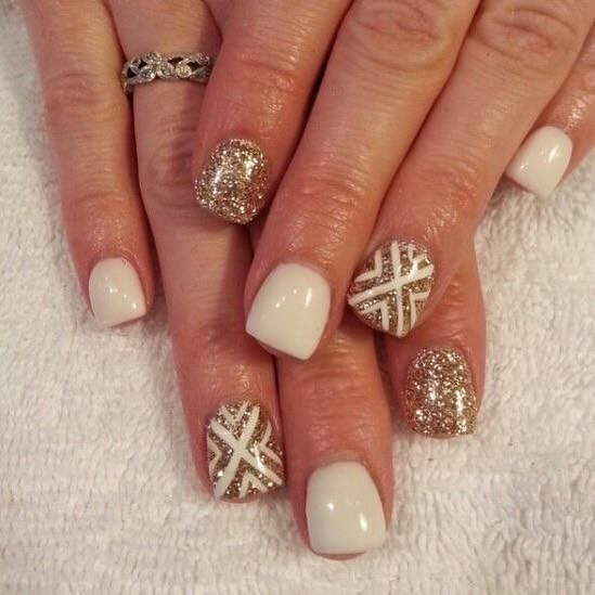 Golden Shimmery Nails with White Creative Nail Art