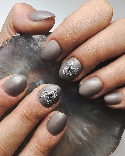 Gray Nails with Exceptional White Nail Art for Party