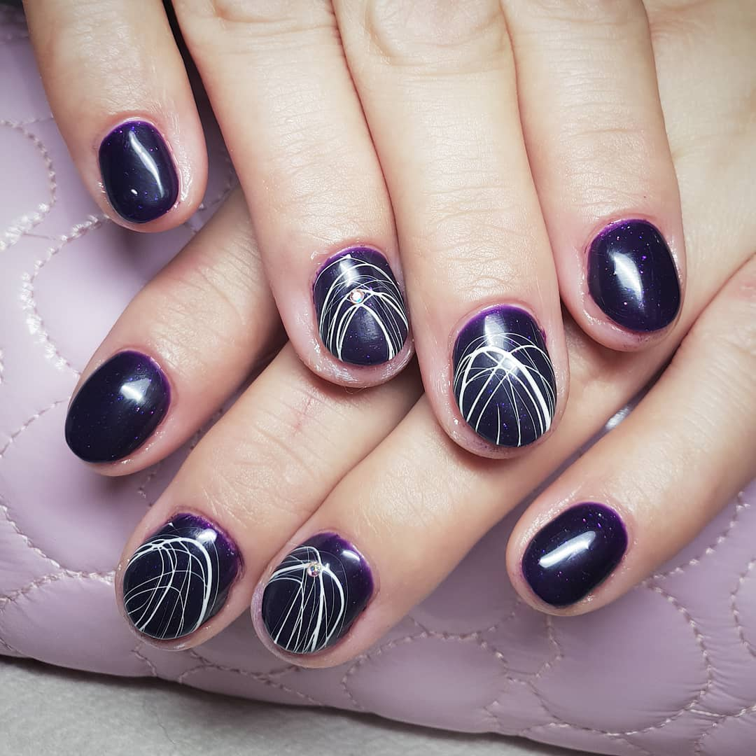 Halloween Inspired Black Nails with White Thread Design Nail Art