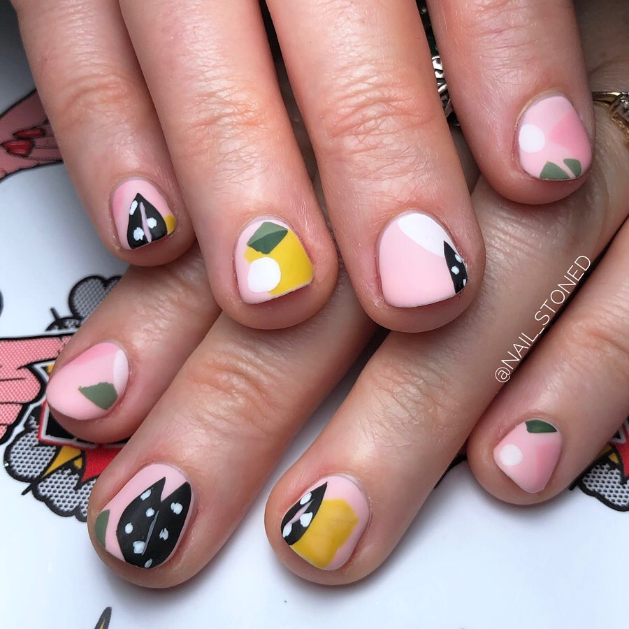 Leaves and Cartoon Inspired Funky Nail Art for Party