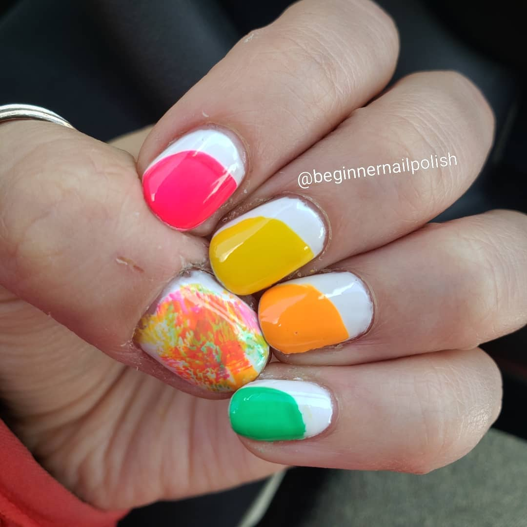 Multicolored Round Shaped Nail Art for White Nails