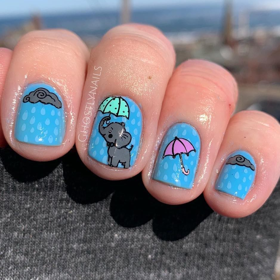 Playing Elephant Design Nail Art for Short Squared Nails