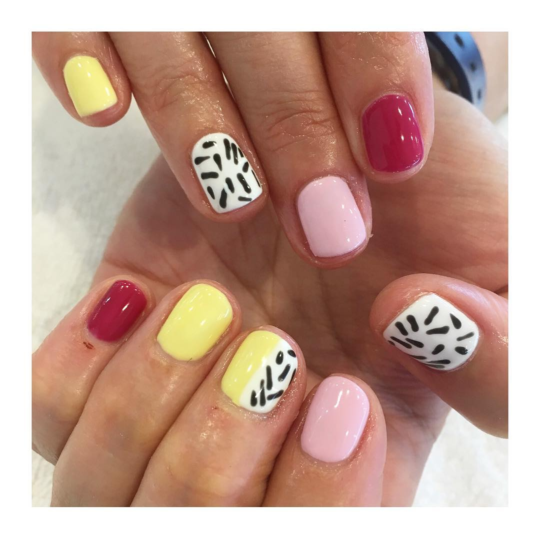 Pretty Yellow and Pink Nail Art for Squared Nails