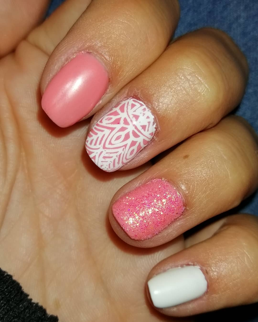 Shimmery Pink Nails with White Amazing Nail Art Design
