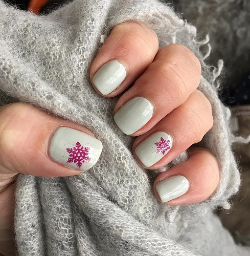 Snowflakes Design Pink Nail Art for White Nails