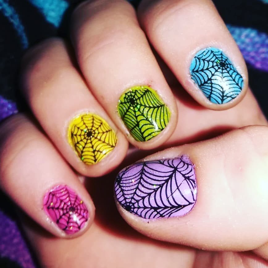Spider Web Design Colorful Nail Art