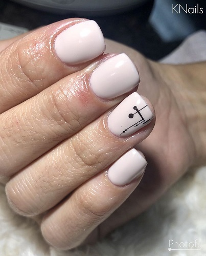 Squared Short White Nails with Exceptional Black Nail Art