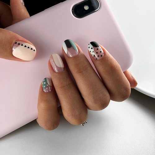 Stunning White and Black Nail Art for Girls
