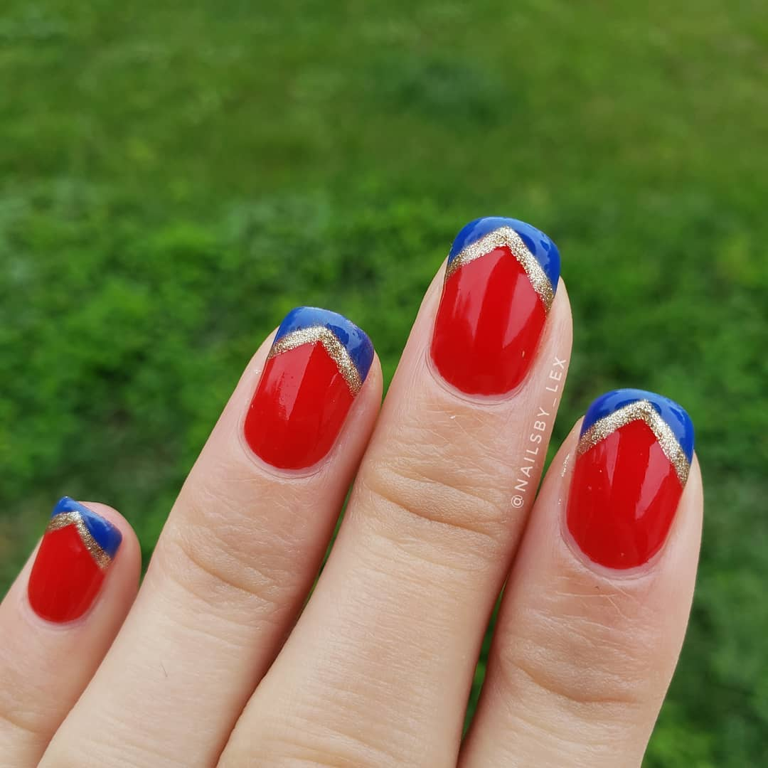 Wonderful Red Nails with Blue and Golden French Manicure